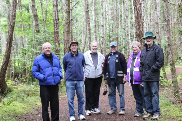 Hiking on Hornby Island, 2013 - Professors Emeriti Mark Zacher, Paul Marantz, John R. Wood, Kal Holsti, Dianne Mauzy, and Heath Chamberlain