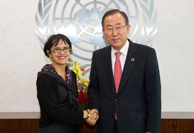 Special Adviser Jennifer Welsh meeting with Secretary-General Ban Ki-Moon. UN Photo/Eskinder Debebe